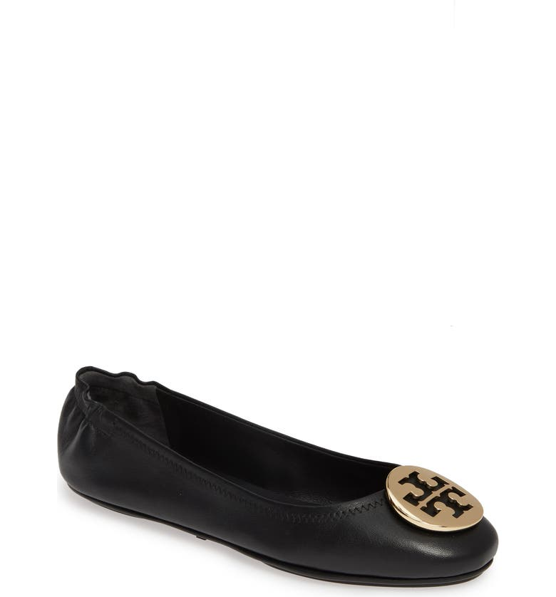 TORY BURCH Minnie Travel Ballet Flat, Main, color, PERFECT BLACK/ GOLD