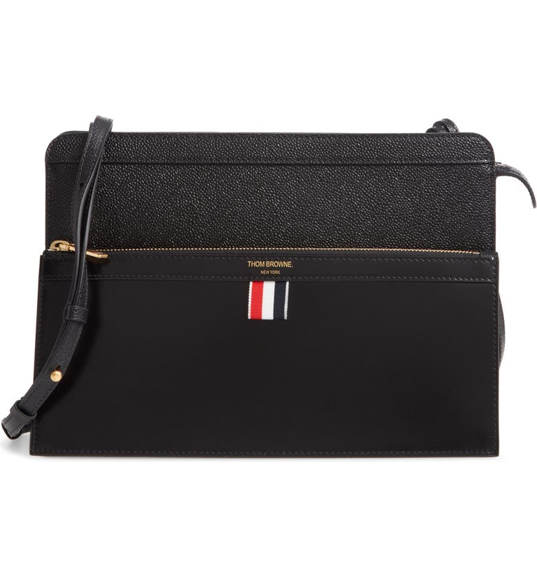 THOM BROWNE Lady Folio Leather Shoulder Bag, Main, color, BLACK