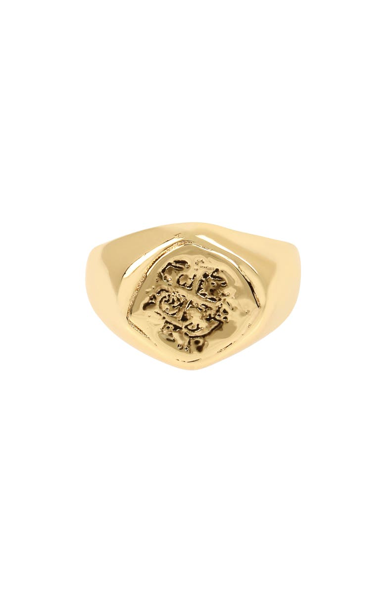 ALLSAINTS Coin Signet Ring, Main, color, GOLD
