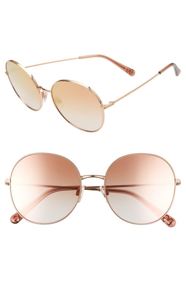 DOLCE&GABBANA 56mm Round Sunglasses, Main, color, GOLD/ PINK GRADIENT MIRROR