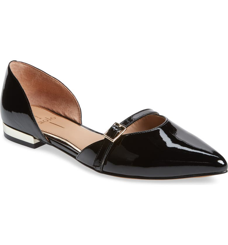 LINEA PAOLO Demi d'Orsay Flat, Main, color, BLACK PATENT LEATHER