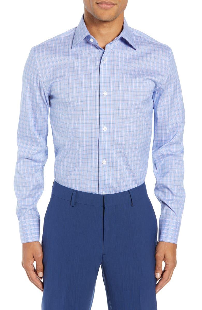 BONOBOS Slim Fit Stretch Plaid Dress Shirt, Main, color, WATER DROP