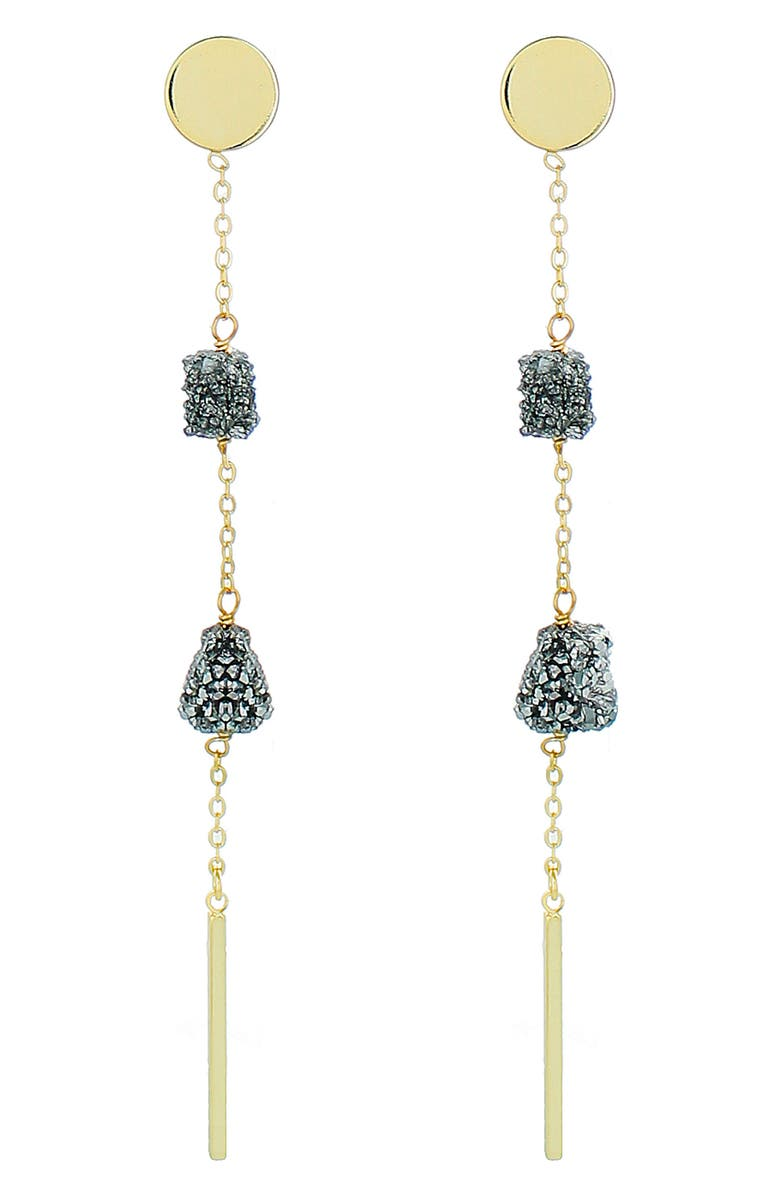 PANACEA Linear Drop Earrings, Main, color, SILVER