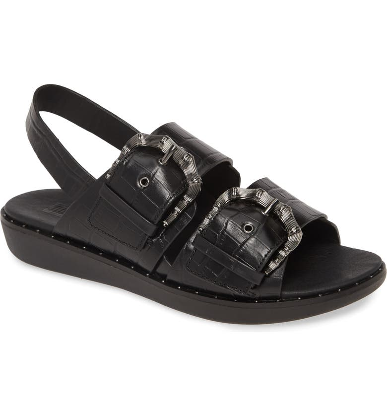 FITFLOP Kaia Sandal, Main, color, BLACK LEATHER