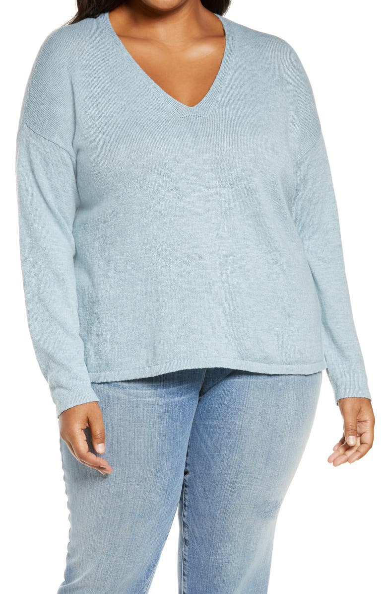 EILEEN FISHER V-Neck Boxy Organic Cotton & Linen Sweater, Main, color, DAWN