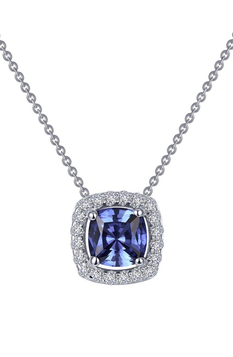 LAFONN Simulated Tanzanite Halo Pendant Necklace, Main, color, 040