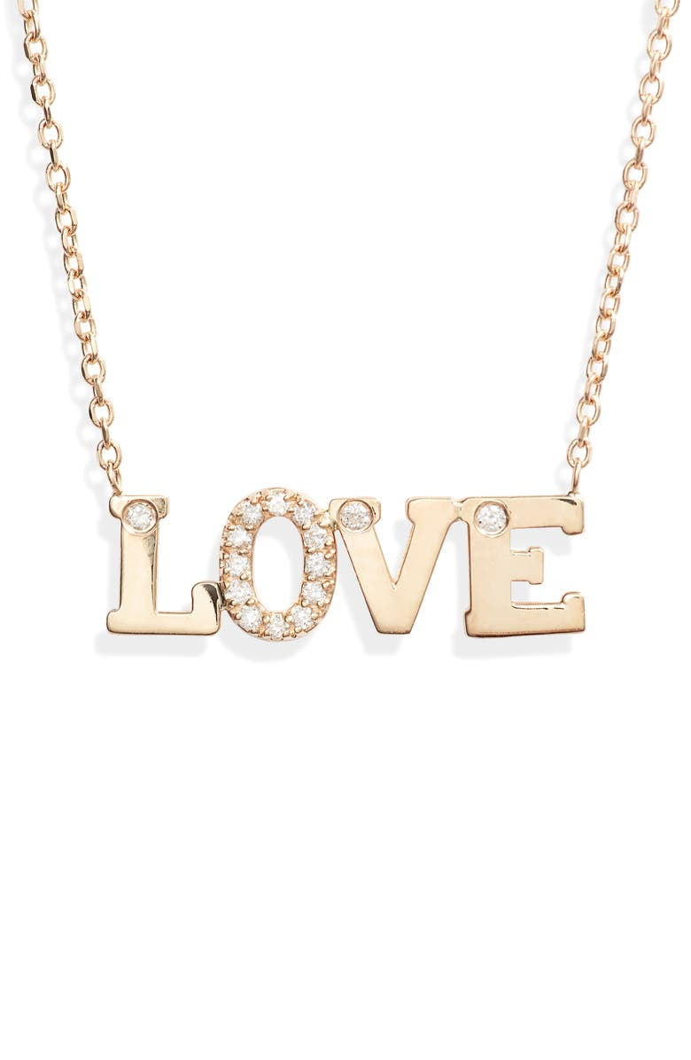 ANZIE Love Letter Love Diamond Necklace, Main, color, GOLD/ DIAMOND