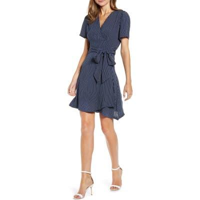 Chelsea28 Print Wrap Minidress, Blue