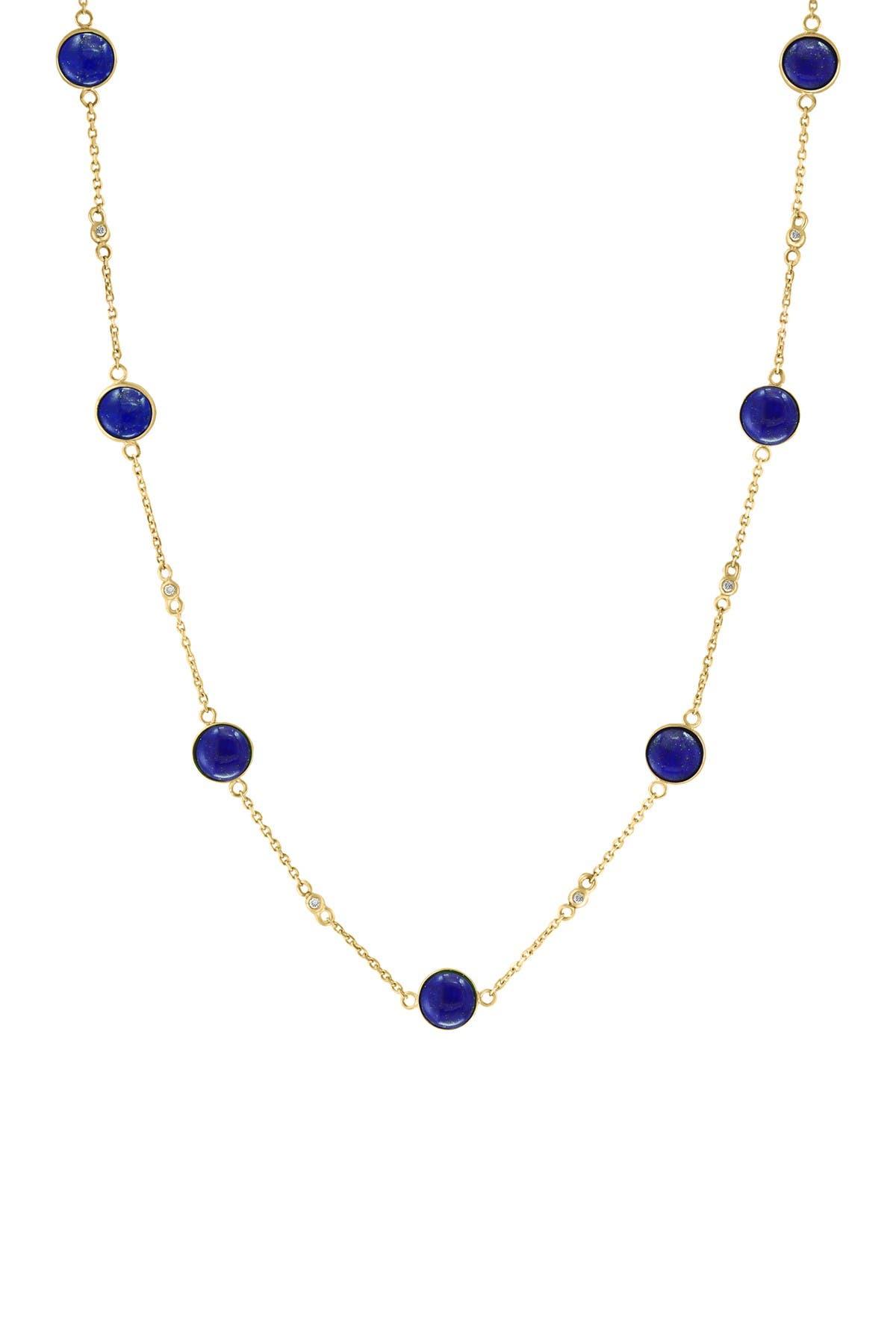 Image of Effy 14K Yellow Gold Bezel Set Lapis & Diamond Station Necklace