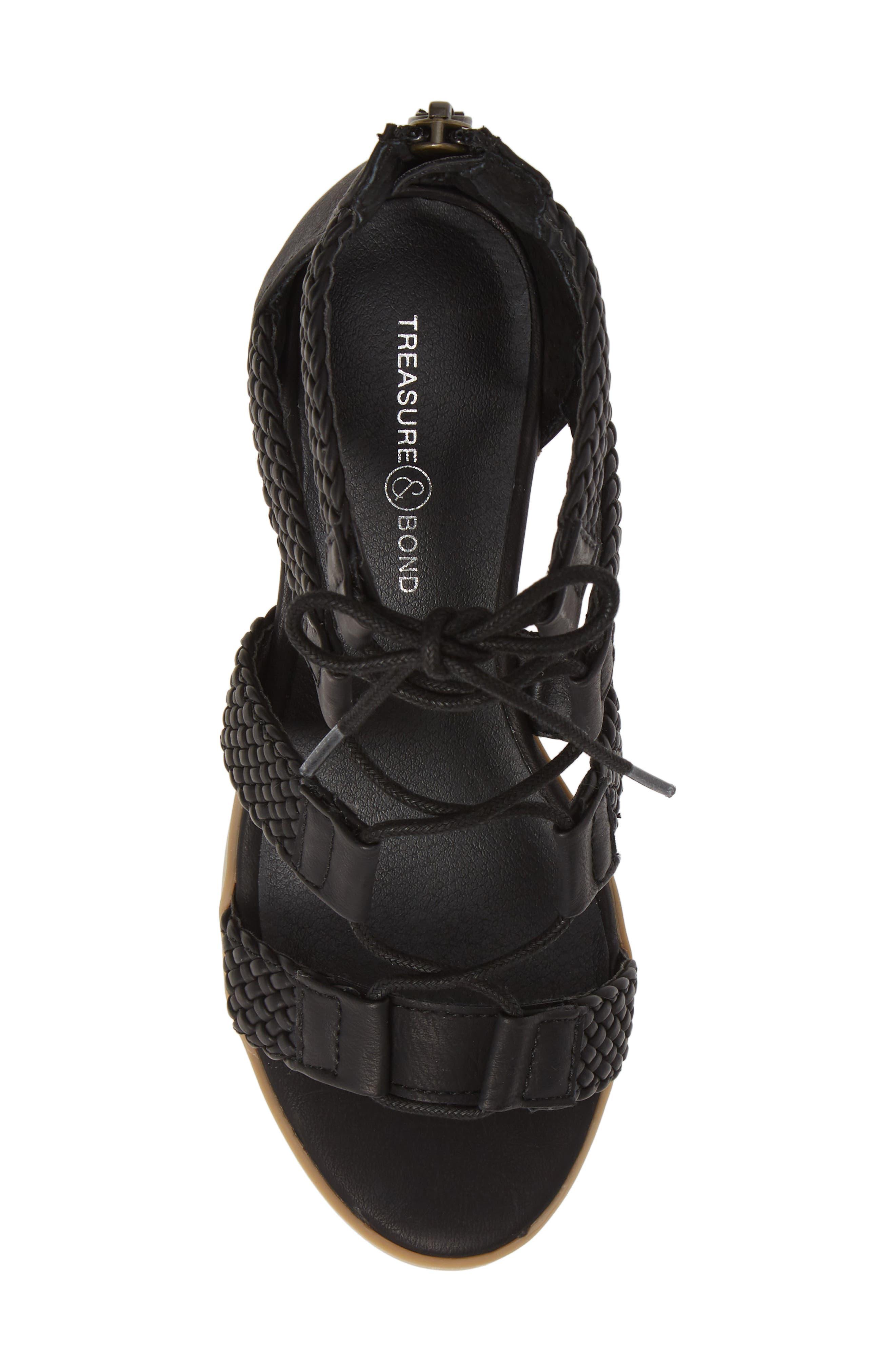,                             Layla Block Heel Sandal,                             Alternate thumbnail 5, color,                             BLACK FAUX LEATHER