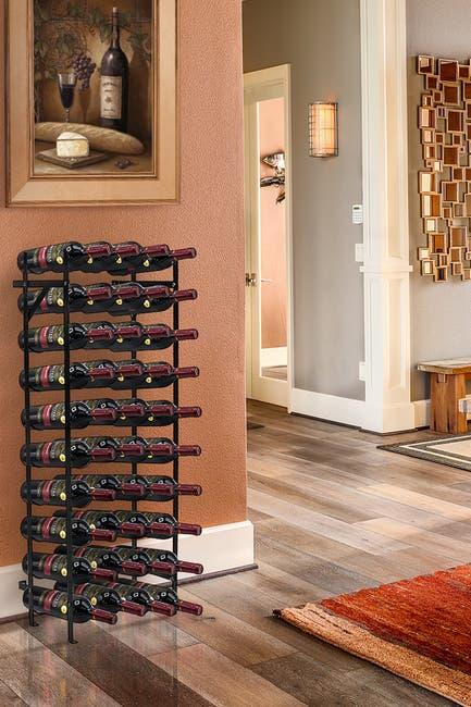 Image of Sorbus Black 40 Bottle Freestanding Wine Rack