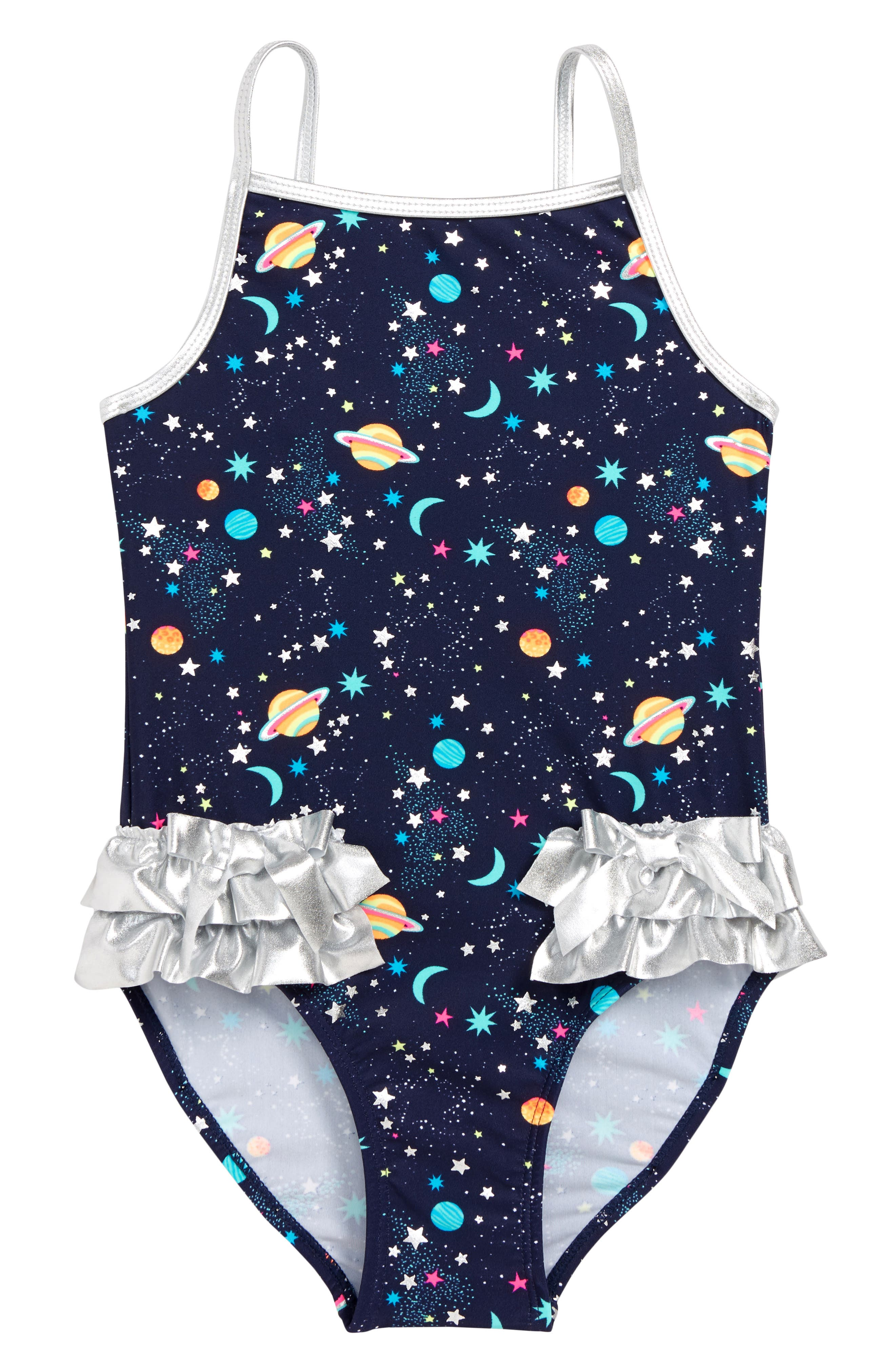 b03f8202fc1d2 Girl's Flapdoodles Galaxy One-Piece Swimsuit, Blue