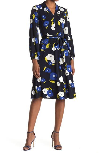 Image of London Times Jersey Print Bishop Sleeve Wrap Dress