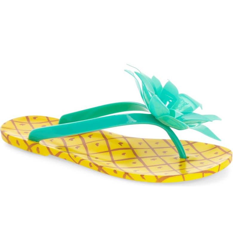 KATE SPADE NEW YORK 'flynn' pineapple flip flop, Main, color, 327