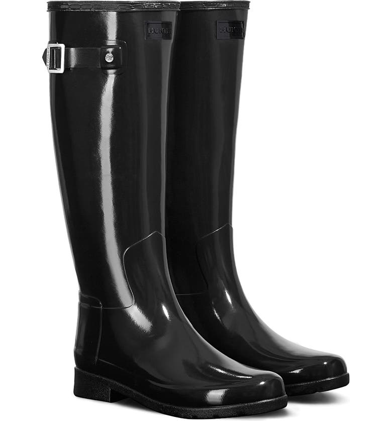 HUNTER Original Refined High Gloss Waterproof Rain Boot, Main, color, BLACK