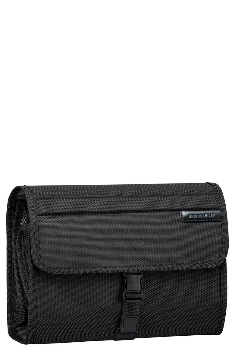 BRIGGS & RILEY Baseline Deluxe Hanging Toiletry Kit, Main, color, BLACK