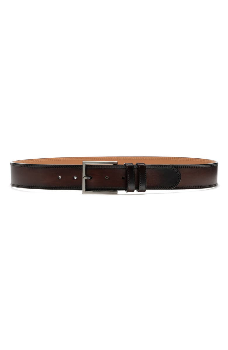 MAGNANNI Eastwood Smooth Leather Belt, Main, color, MID BROWN