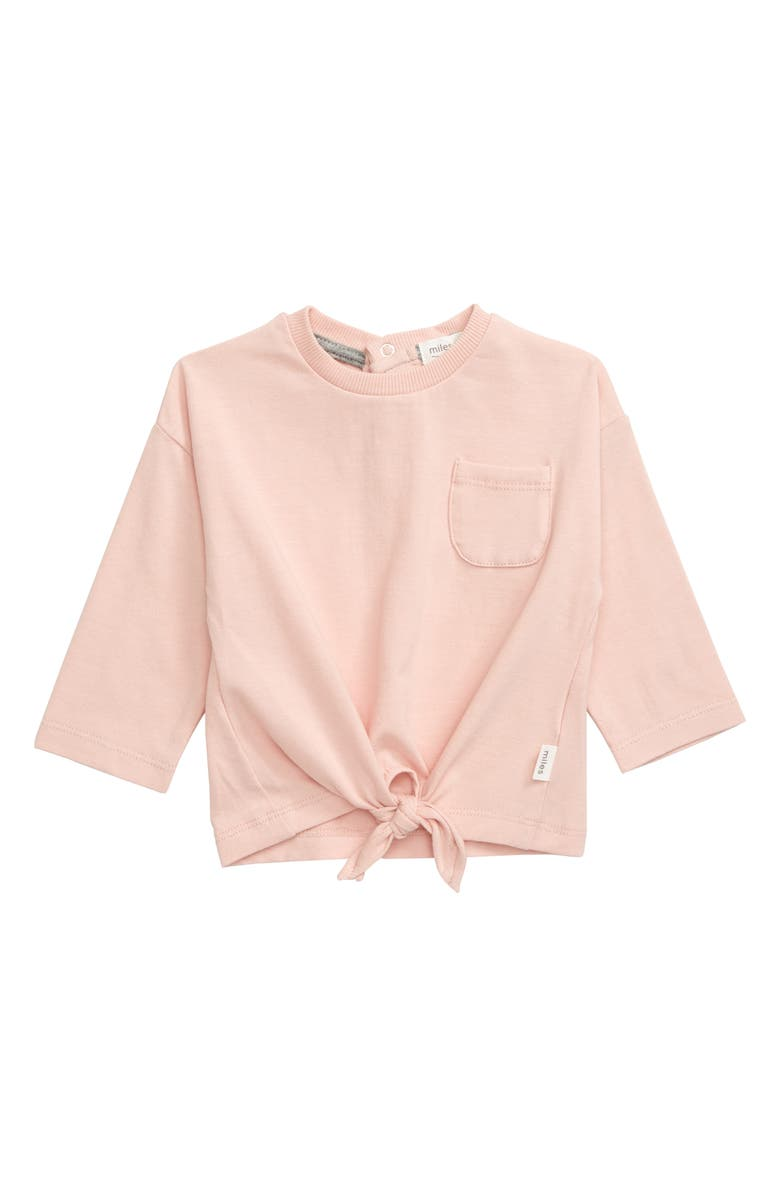 MILES BABY Tie Front T-Shirt, Main, color, LIGHT PINK