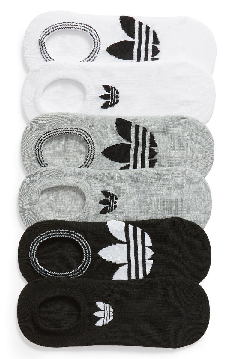 ADIDAS ORIGINALS adidas 6-Pack Trefoil Superlite No-Show Socks, Main, color, WHITE/ LT HTHR GREY/ BLACK