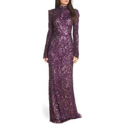 MAC Duggal High Neck Sequin Gown With Train, Red