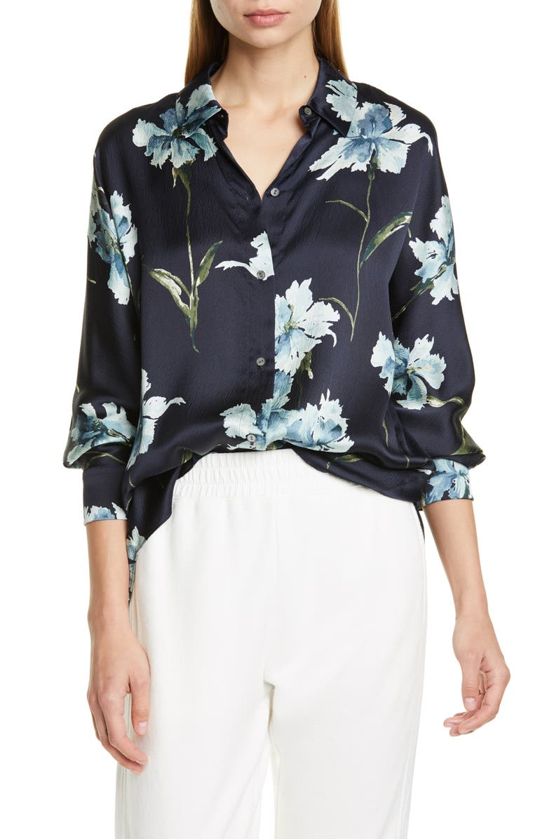 VINCE Iris Print Silk Blouse, Main, color, COASTAL