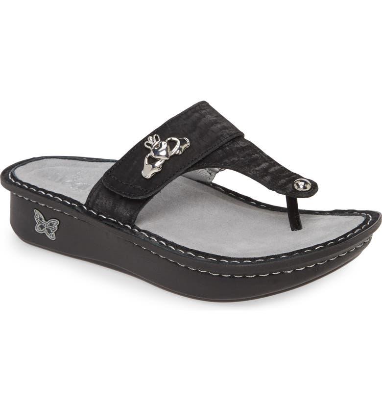ALEGRIA 'Carina' Sandal, Main, color, CAVIAR LEATHER