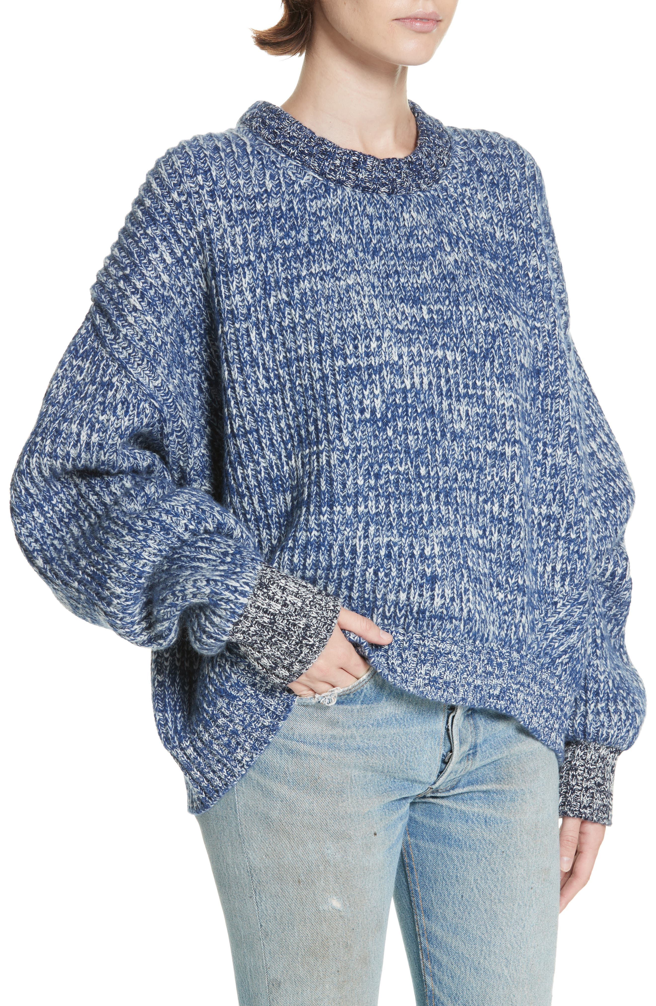 ,                             Mavie Chunky Wool & Cashmere Sweater,                             Alternate thumbnail 4, color,                             BLUE MARL