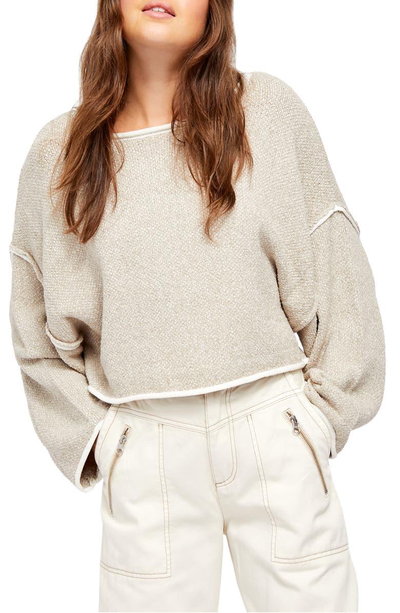 FREE PEOPLE Bardot Sweater, Main, color, GREY