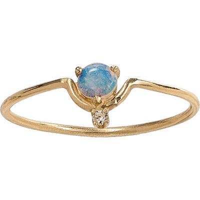 Wwake Nestled Opal & Diamond Ring