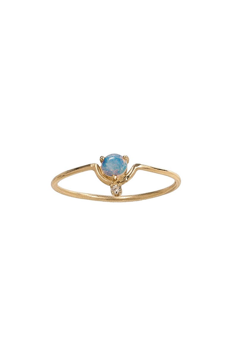 WWAKE Nestled Opal & Diamond Ring, Main, color, YELLOW GOLD/ DIAMOND/ OPAL
