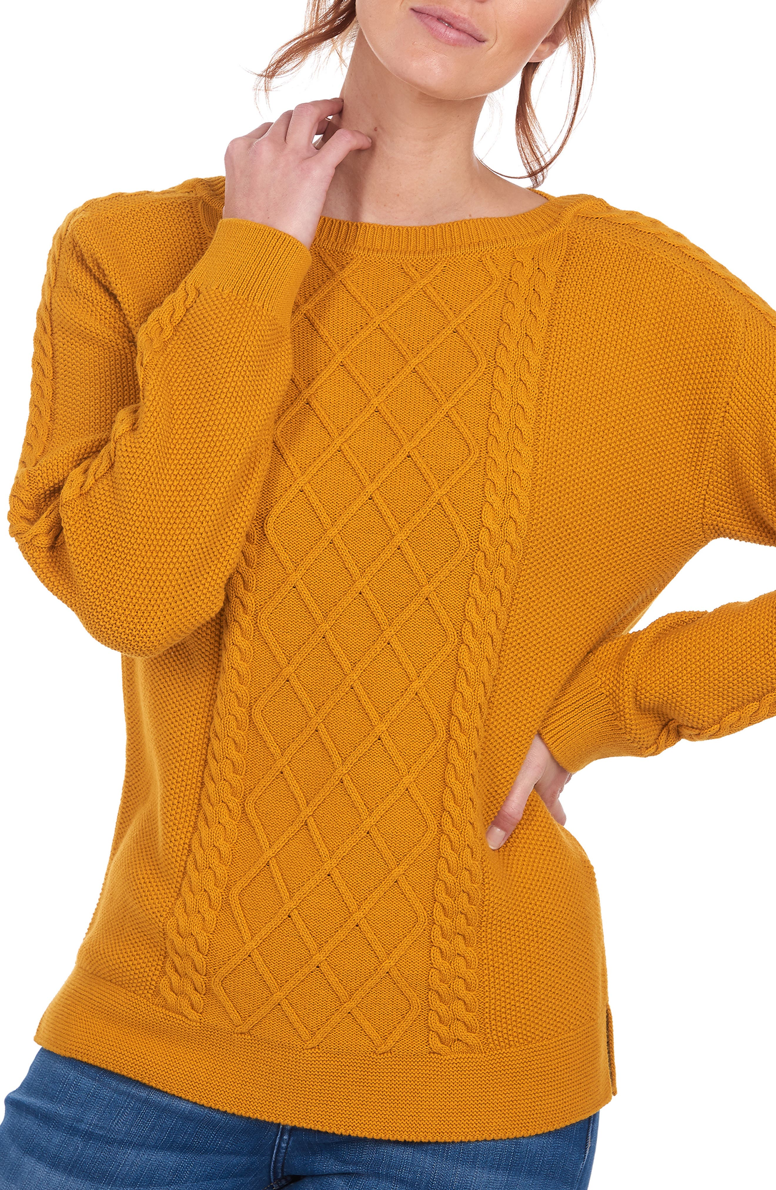 A lattice-knit front and classic cable accents create a sophisticated mix of textures on this soft cotton sweater. Style Name: Barbour Stokehold Lattice Knit Sweater. Style Number: 6088426. Available in stores.
