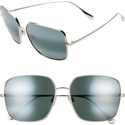 Maui Jim Triton 61Mm Polarizedplus2 Mirrored Square Sunglasses - Silver/ Neutral Grey