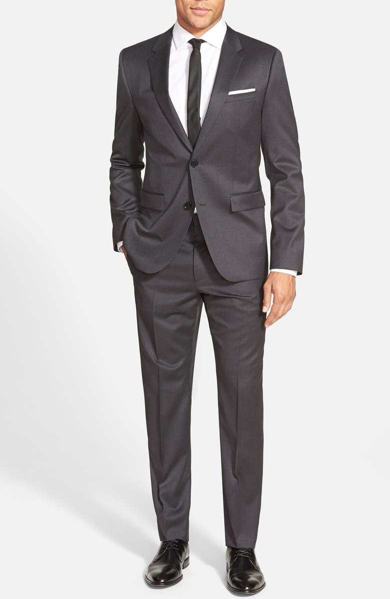 4c4f031f HUGO 'Aeron/Hamen - Super Graphite' Trim Fit Solid Wool Suit   Nordstrom
