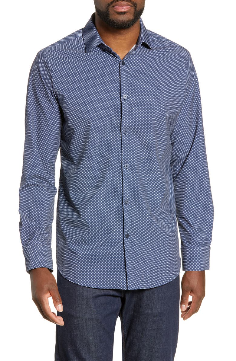 MIZZEN+MAIN Murray Trim Fit Plaid Performance Sport Shirt, Main, color, 492
