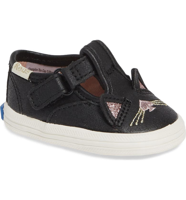 KEDS<SUP>®</SUP> x kate spade new york Champion T-Strap Glitter Sneaker, Main, color, 002
