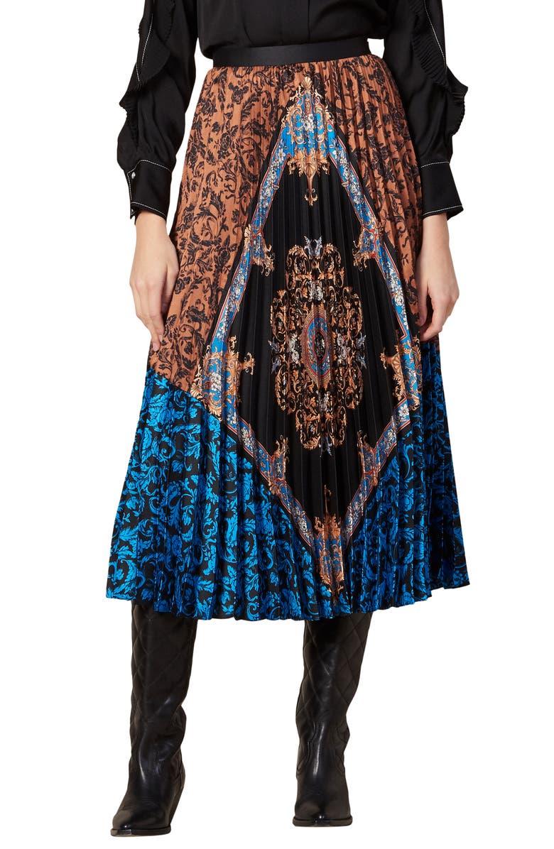 SANDRO Ivona Mix Scarf Print Pleated Skirt, Main, color, 200