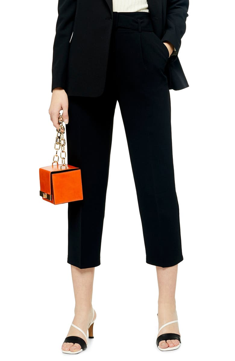 TOPSHOP Smartie Buckle Peg Trousers, Main, color, BLACK