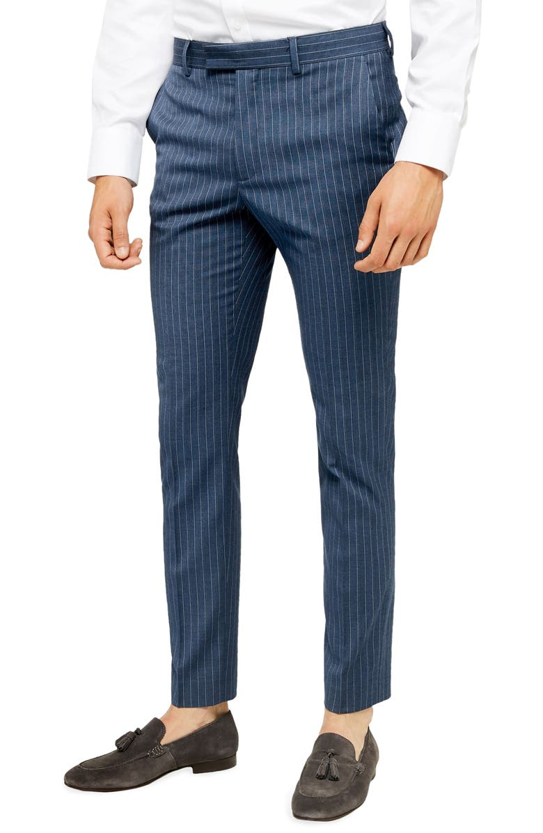 TOPMAN Felix Pinstripe Crop Super Skinny Dress Pants, Main, color, BLUE