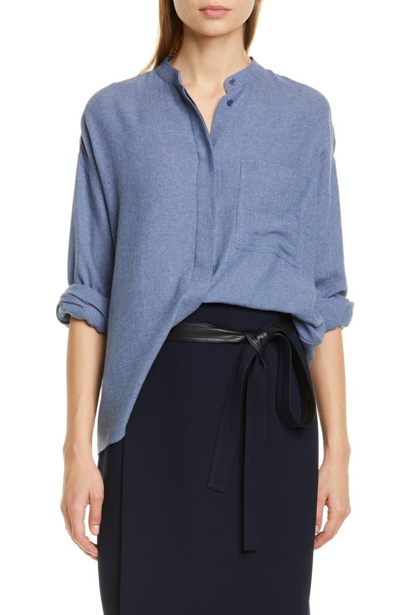 VINCE Oversize Cotton Blend Shirt, Main, color, HEATHER AZURITE