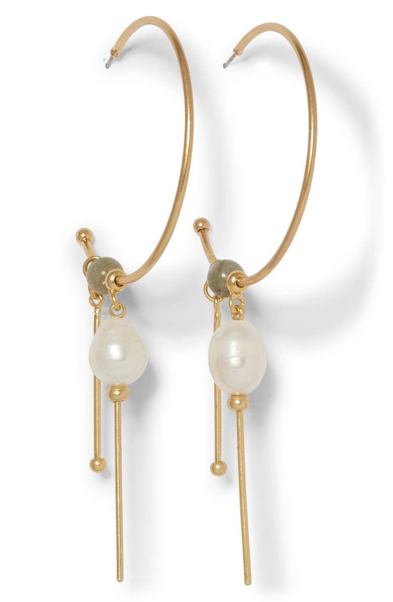 SOLE SOCIETY Charm Hoop Freshwater Pearl Earrings, Main, color, 12K SOFT POL GLD/LAB/IVRY PRL