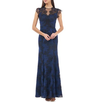 Js Collections Panel Lace Evening Gown, Blue