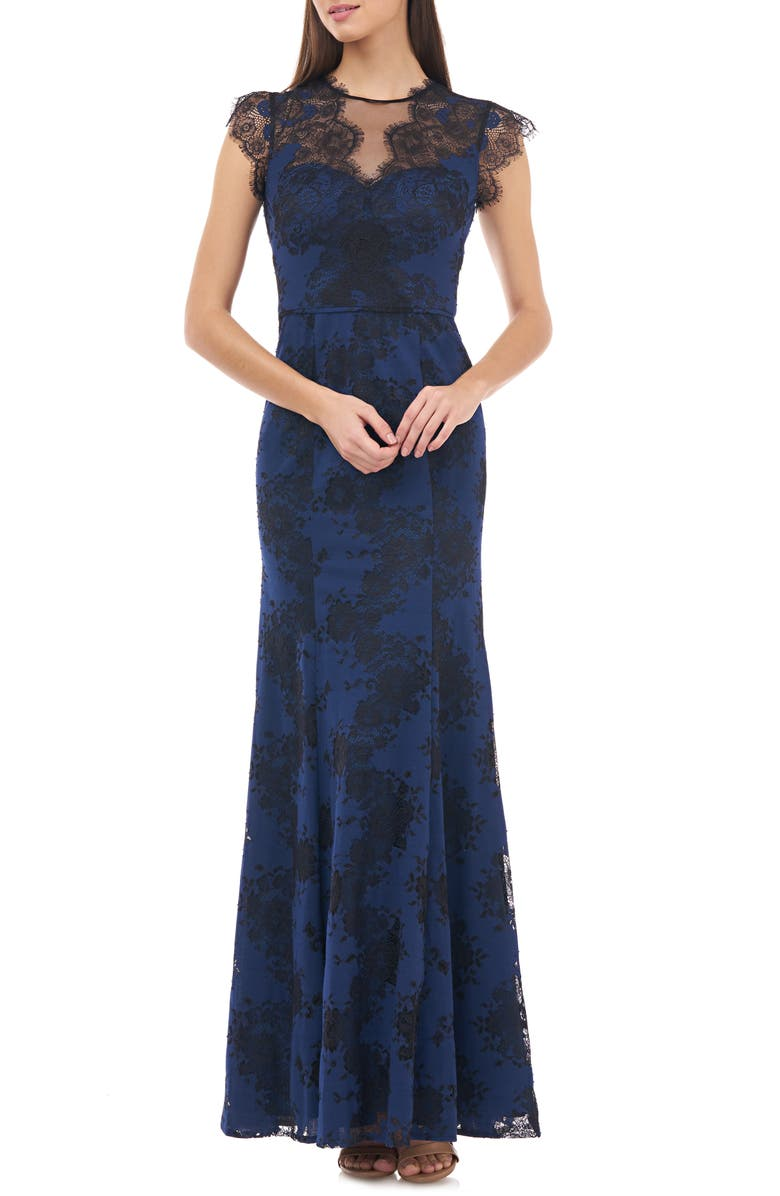 JS COLLECTIONS Panel Lace Evening Gown, Main, color, NAVY BLACK