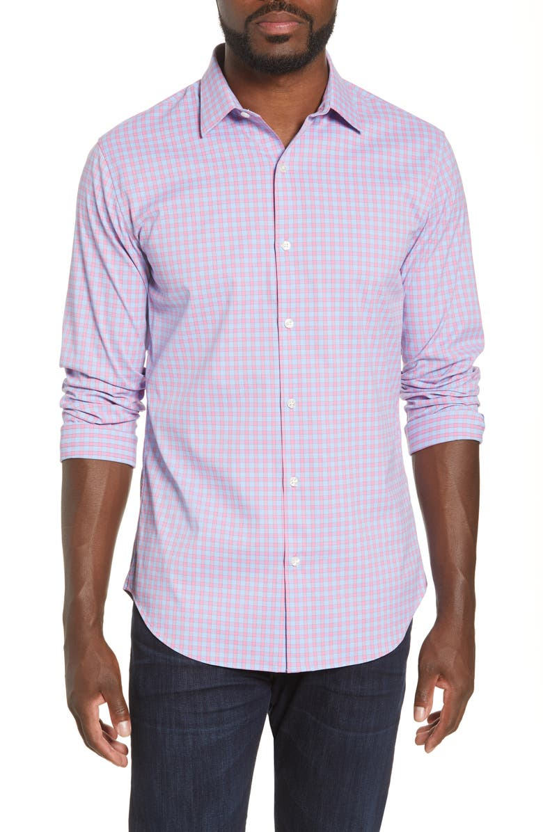 BONOBOS Slim Fit Plaid Button-Up Tech Shirt, Main, color, YORK CHECK - PINK RASPBERRY