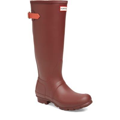 Hunter Original Tall Adjustable Back Waterproof Rain Boot, Red