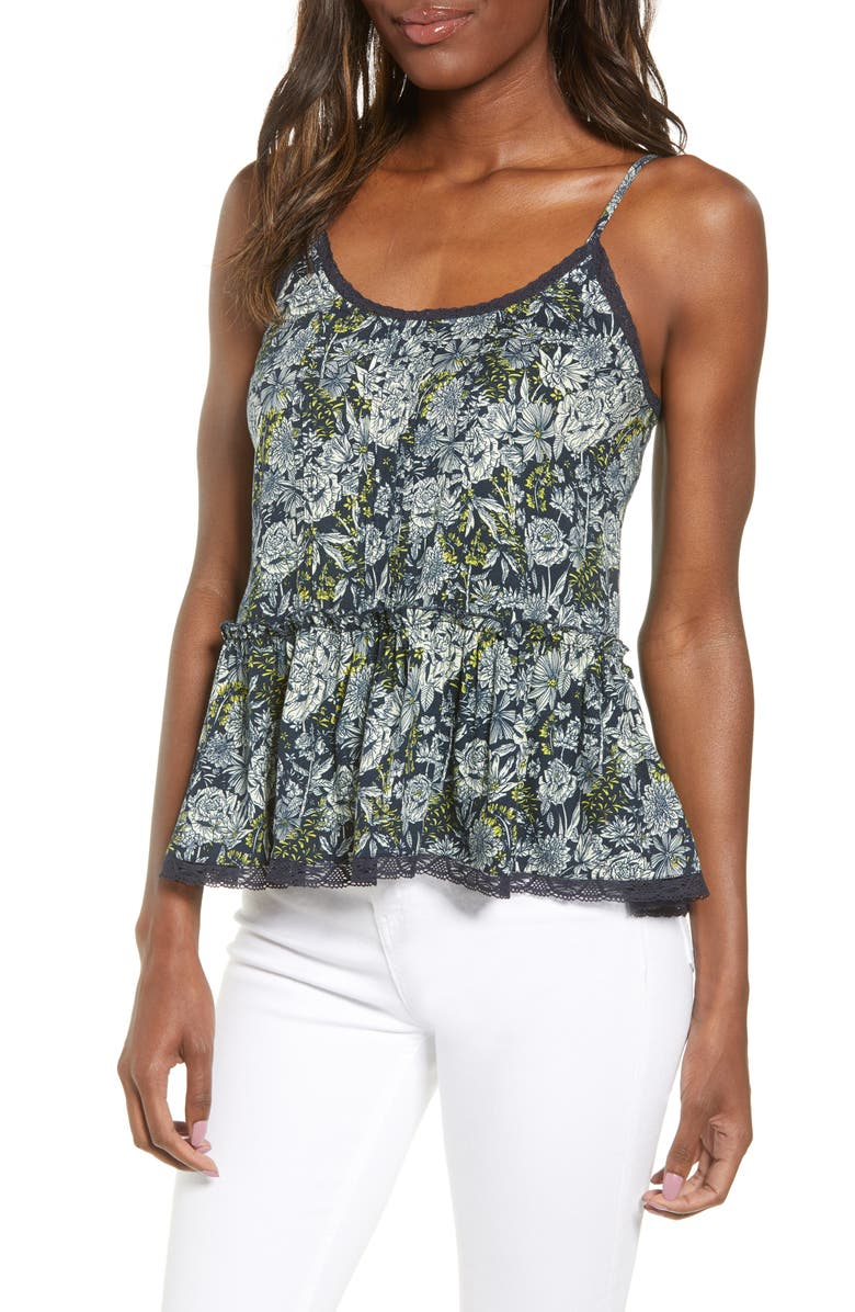 HINGE Pintuck & Ruffle Detail Camisole, Main, color, 410