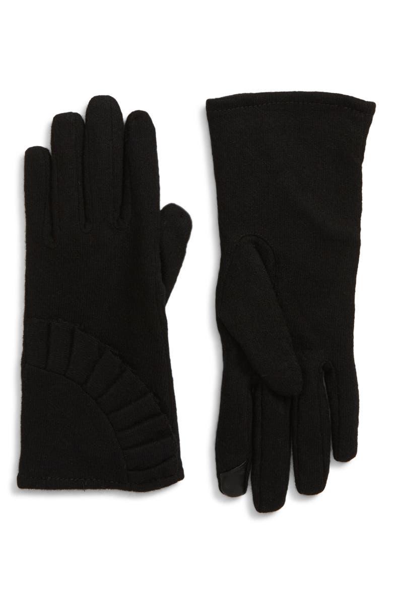 NORDSTROM Ruffle Tech Wool Blend Gloves, Main, color, BLACK