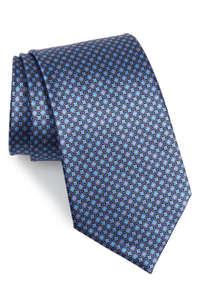 ERMENEGILDO ZEGNA Geometric Silk Tie, Main, color, BLUE