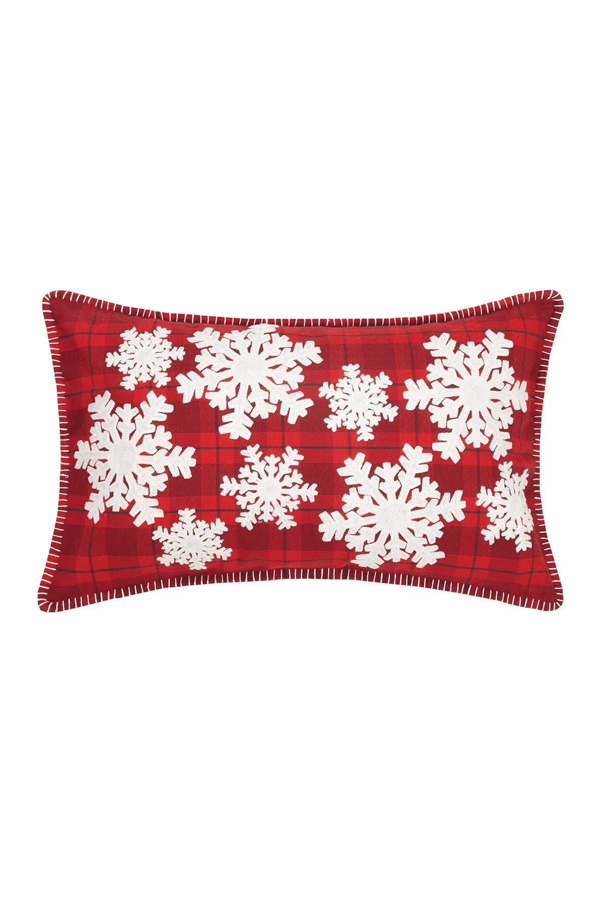 Image of Peking Handicraft Red/White Snowflake Plaid Applique Embroidered Pillow