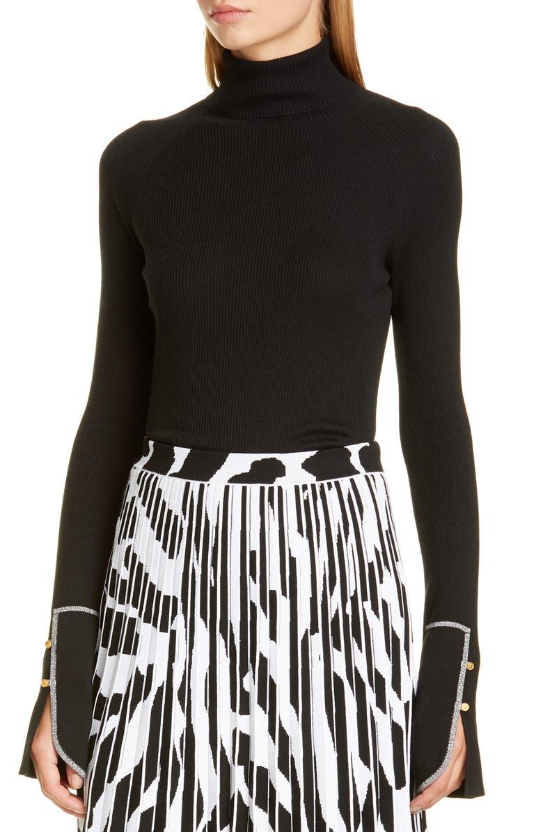PROENZA SCHOULER Rib Silk Blend Turtleneck Sweater, Main, color, BLACK