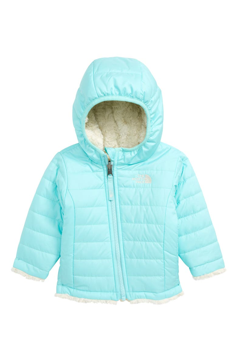 THE NORTH FACE Mossbud Swirl Reversible Water Repellent Heatseeker<sup>™</sup> Jacket, Main, color, BREEZE BLUE/ VINTAGE WHITE